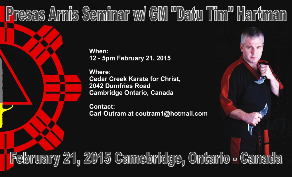 "Presas Arnis seminar w/ GM ""Datu Tim"" Hartman @ Cedar Creek Karate for Christ 