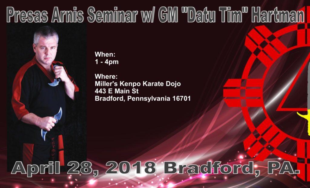 Presas Arnis seminar with Datu Hartman @ Miller's Kenpo Karate Dojo | Bradford | Pennsylvania | United States